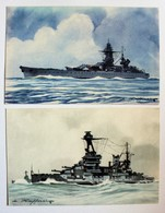 2 CPA Cuirassé Lorraine Et Richelieu Illustrateur Léon Haffner Peintre Marine Ligue Maritime Et Coloniale - Guerra