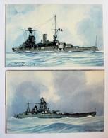 2 CPA Cuirassé Strasbourg Et Provence Illustrateur Léon Haffner Peintre Marine Ligue Maritime Et Coloniale - Guerra
