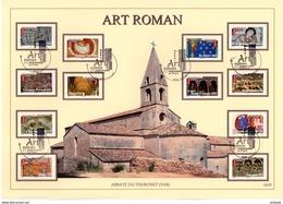 """UNIQUE """" L'ART ROMAN """" Sur Beau Document A4 1°Jour De 2010. (12 Timbres) N° YT Adh 455 à 466 . Parfait état. FDC - France"""