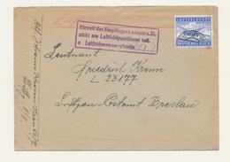 ZZ543 - Cover Stamp Luftfeldpost WIEN 1943 To Luft Postamt BRESGAU - Cachet Empfanger Nicht .... - Germany