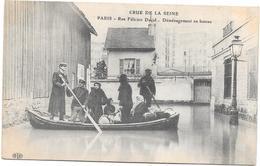 PARIS - 75 - CRUE De La SEINE - Rue Félicien David - Déménagement En Bateau - BARA1 - - Inondations De 1910