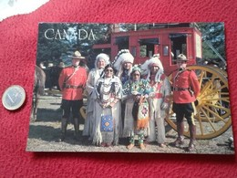 TARJETA POSTAL POST CARD CANADÁ MOUNTIES & INDIANS INDIOS Y POLICIAS MONTADAS ? POLICIA MONTADA ? CARTE POSTALE VER FOTO - Indios De América Del Norte