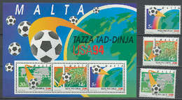 Malta 1994 Football Soccer World Cup Set Of 3 + S/s MNH - World Cup