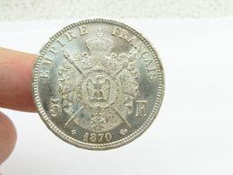 Superbe 5 F Argent 1870 Bb écu - Francia