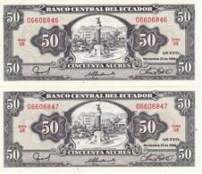 PAREJA CORRELATIVA DE ECUADOR DE 50 SUCRES DEL 22/11/1988 SIN CIRCULAR-UNCIRCULATED - Ecuador