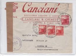 CANCIANI. DISTILLERIA LIQUORI DI LUSSO. CIRCULATED TO VIENNA. 1947 UDINE OBLIT.-BLEUP - 6. 1946-.. Republic