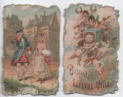 Petit Calendrier De Poche / Retaillé/ Biscuits LEFEVRE-UTILE/ Gentilhomme Et Damoiselle En Promenade /1898        IMA471 - Calendars