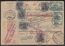 DR Paketkarte Mif Minr.91II,6x 104,3x A113,10x 113 Jena 14.7.20 Gel. In Schweiz - Deutschland