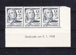 Wuerttemberg, Mi 1 Yv, Schiller, Druckdatum 9.1.1948, Postfrisch (51576) - Zone Française