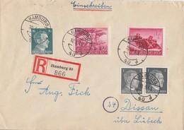 DR R-Brief Mif Minr.2x 781,790,879,908 Hamburg 10.3.45 Gel. Nach Dissau - Deutschland