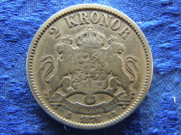 SWEDEN 2 KRONOR 1876, KM742 Cleaned - Suède