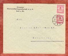 Brief, Schweizer Rheinschiffahrtsges., MeF Korbdeckelmuster, Kehl Nach Karlsruhe 1923 (51583) - Covers & Documents