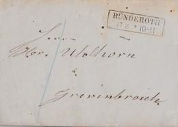 Preussen Brief R2 Ründeroth 17.3.(1867) Gel. Nach Grevenbroich Mit Inhalt - Preussen