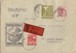 Gemeina. Wertbrief Mif Minr.945,956,959 München 8.1.48 Gel. Nach Goslar - Gemeinschaftsausgaben