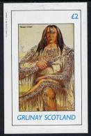 10341 Grunay 1982 N American Indians Imperf Deluxe Sheet Unmounted Mint (2 Value) - American Indians