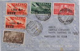 Busta Posta Aerea Venezia -> Santiago Del Cile - Bella Affrancatura Mista - 6. 1946-.. Repubblica