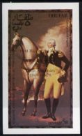24209 (space) Dhufar 1976 USA Bicentenary (George Washington) Imperf Deluxe Sheet (5r Value) Opt'd APOLLO II 10th An - Space