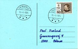 Greenland Card Sent To Denmark Tingmiarmiut 11-6-1974 Single Franked - Greenland