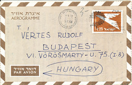 Israel Aerogramme Sent To Hungary 7-4-1964 - Airmail