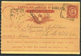 1894 Italy Cartolina Vaglia. Siena Colle - 1878-00 Umberto I