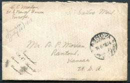 1918 Italy USA Ship Cover, Sailor Mail, US Navy Genova Genoa - Kansas - 1878-00 Humberto I