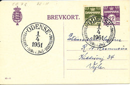 Denmark Uprated Postal Stationery Card With Special Postmark Odense 1-4-1951 - Entiers Postaux