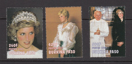 1998 Burkina Faso Princess Diana  Complete Set Of 3   MNH - Burkina Faso (1984-...)