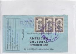 AMERICAN CULTURAL INTERCHANGE. VIA AEREA. 1964. CIRCULATED SUCRE TO MIAMI. RECOMMANDE. SURCHARGE BLEU.-BLEUP - Bolivië