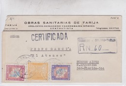 """OBRAS SANITARIAS DE TARIJA. CERTIFICADA. . BOLIVIA TO BUENOS AIRES """"EL ATENEO"""" 1949.-BLEUP - Bolivië"""