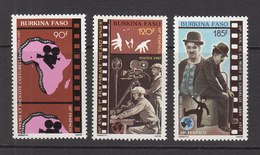 1987 Burkina Faso African Film Festival Cinema Jolson Chaplin  Complete Set Of 3   MNH - Burkina Faso (1984-...)