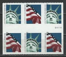 USA. Scott # 4518-19a, MNH Pane Of 6 With Pl # From ATM Booklet. Statue Of Liberty & Flag 2011 - Unused Stamps