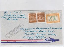 AIRMAIL. CIRCULEE REP DOMINICANA TO ARGENTINA. 1968. RECOMMANDE.-BLEUP - Dominicaanse Republiek