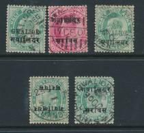 INDIAN STATES/GWALIOR, Five Postmarks - Gwalior