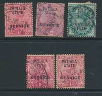 INDIAN STATES/PATIALA, Five Postmarks - Patiala