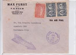 ENVELOPE VIA AIR. MAX FURST. HONDURAS TO GUATEMALA. 1941. AVEC AUTRES MARQUES.-BLEUP - Honduras
