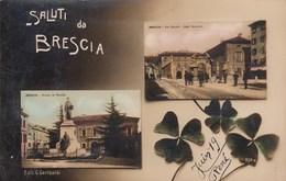 BRESCIA.SALUTINO CON DUE IMMAGINI-FOTOGRAFICA-CARTOLINA ANNO 1915-20 - Brescia