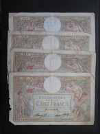 LOT 4 BILLETS FRANCE (V1719) 100 FRANCS (10 Vues) Luc Olivier Merson 1933, 1936, 1937, 1937 - 1871-1952 Anciens Francs Circulés Au XXème