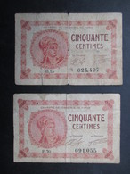 LOT 2 BON DE NéCESSITé FRANCE (V1719) Cinquante Centimes 1920 (2 Vues) Chambre De Commerce De Paris - Bons & Nécessité