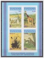 0379 Tanzania 1986 Giraffe Rhinoceros Cheetah Oryx S/S MNH Imperf - Autres