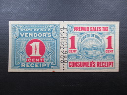 PREPAID SALES TAX (V1719) STATE OF OHIO (2 Vues) Vendors 1 Cent Receipt 1910 - Etats-Unis