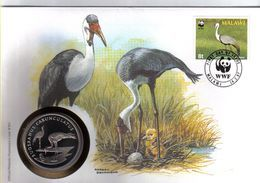 WWF NUMISBRIEF, MALAWI, Kranich   /  COIN COVER, Crane   /  ENVELOPPE NUMISMATIQUE, Grue,  1987 - W.W.F.