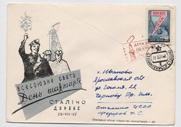 MAIL Post Cover USSR RUSSIA Mine Miner Stalino Donbass Donetsk Coal - 1923-1991 UdSSR