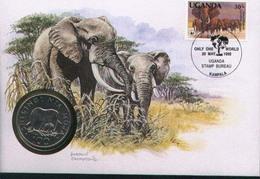 WWF NUMISBRIEF, UGANDA, Elefant /  COIN COVER/  ENVELOPPE NUMISMATIQUE, éléfant,  1990 - W.W.F.