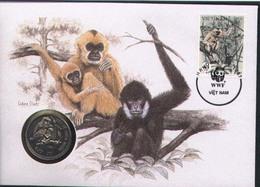 WWF NUMISBRIEF, VIETNAM, Monkeys  /  COIN COVER  /  ENVELOPPE NUMISMATIQUE, Singes,  1987 - W.W.F.