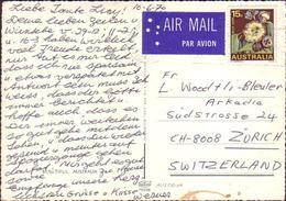 Australia Postcard To Switzerland Usage 15c Tasmania Blue Gum Flower - 1966-79 Elizabeth II