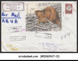 BELARUS - 1996 REGISTERED Envelope To USA With BEAVER Miniature Sheet - Belarus