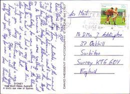Australia Postcard To Denmark Usage 90c Sports Soccer Football - 1990-99 Elizabeth II