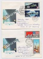 SPACE 2 Cover Mail USSR RUSSIA Rocket Sputnik Soyuz-19 Apollo USA - Lettres & Documents