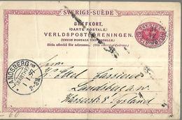 Suède Entier Postal  Du 31 12 1896   De Landsberg  ( Intérieur ) - 1864-04 (Christian IX)
