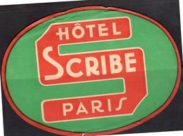 Hotel Scribe Paris Wine Sticker 17x12 Cm (damaged At Top)  ± 1920 (49-66) - Pubblicitari